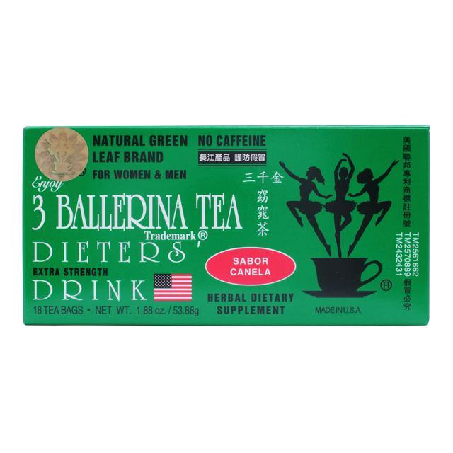 3 BALLERINA Herbal Tea, Weight Loss Dieters Drink Extra Strength Cinnamon Flavor 18 Tea Bags 1.88 Oz (53.88 g)