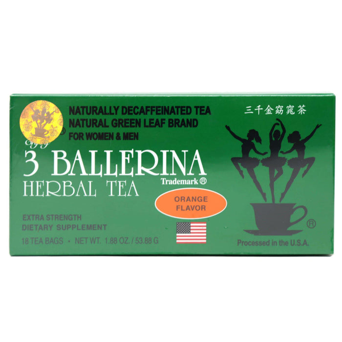 3 BALLERINA Herbal Tea Dieters Drink Extra Strength Orange Flavor 18 Tea Bags 1.88 Oz (53.88 g)