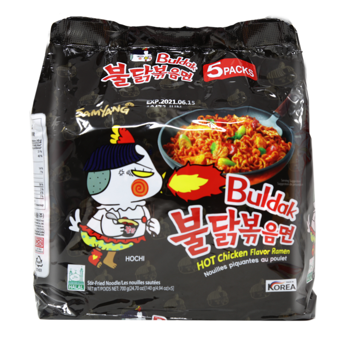 SAMYANG Buldak Hot Spicy Chicken Flavor Stir-Fried Ramen Noodles 5-PACK 24.7 Oz (700 g)