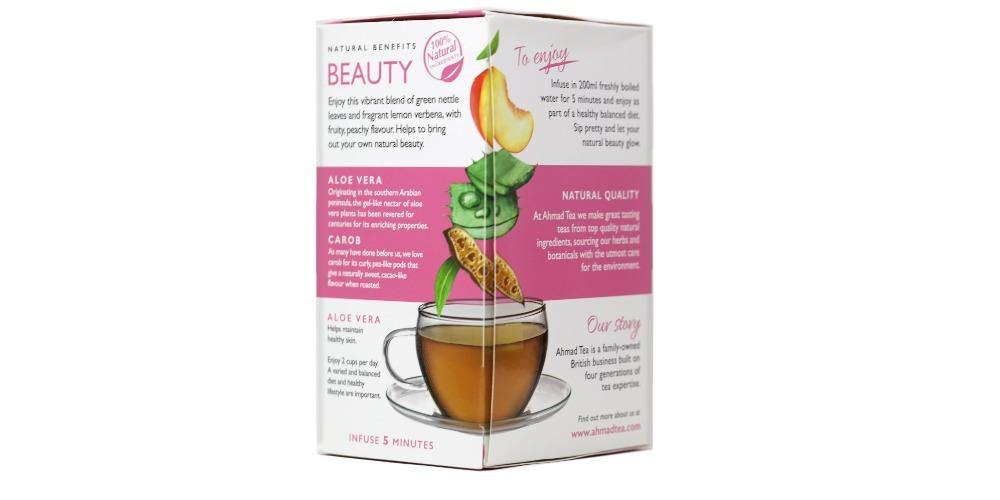 "Ahmad Tea Peach, Carob & Rose Petals ""Beauty"" Infused Tea 1.4 Oz (40 g) - 20 Sachets"