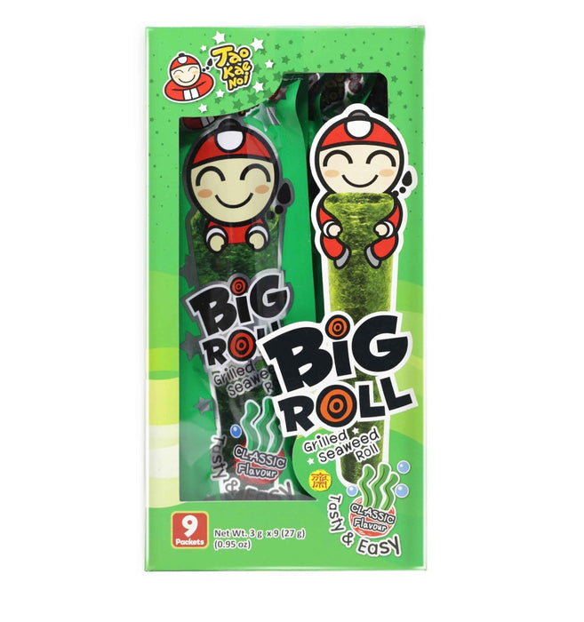 Tao Kae Noi Big Roll Grilled Seaweed Roll with Classic Flavor (小老闆原味紫菜卷) 0.95 Oz (27 g) 9 Packets