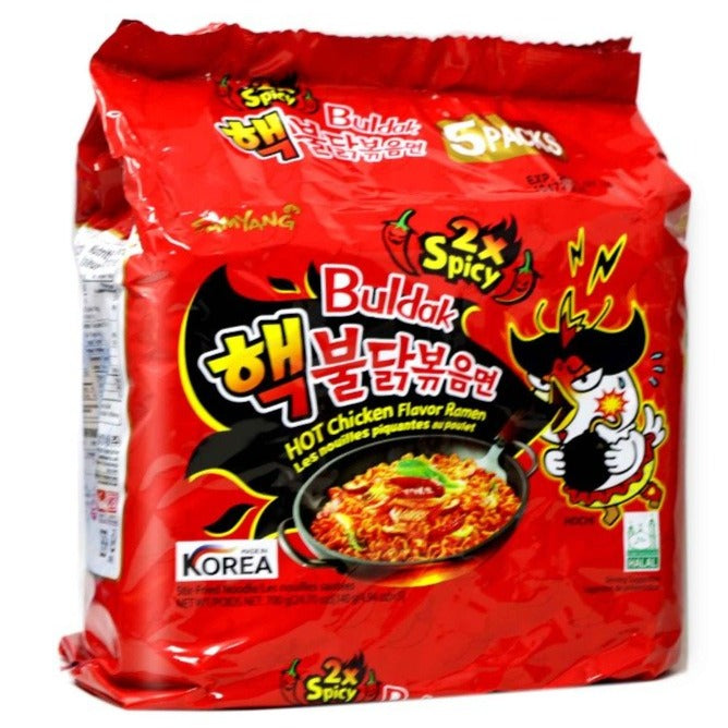 Samyang Buldak 2x Spicy Hot Chicken Flavor Instant Stir-Fried Ramen Noodles 5-PACK 24.7 Oz (700 g)