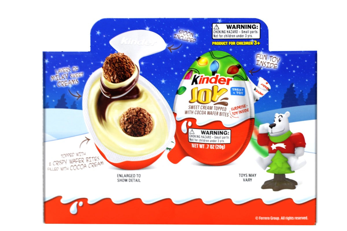 Kinder Joy Limited Edition Winter Toys Sweet Cream Topped with Cocoa Wafers- 12 Pack Eggs 8.4 Oz (240 g)