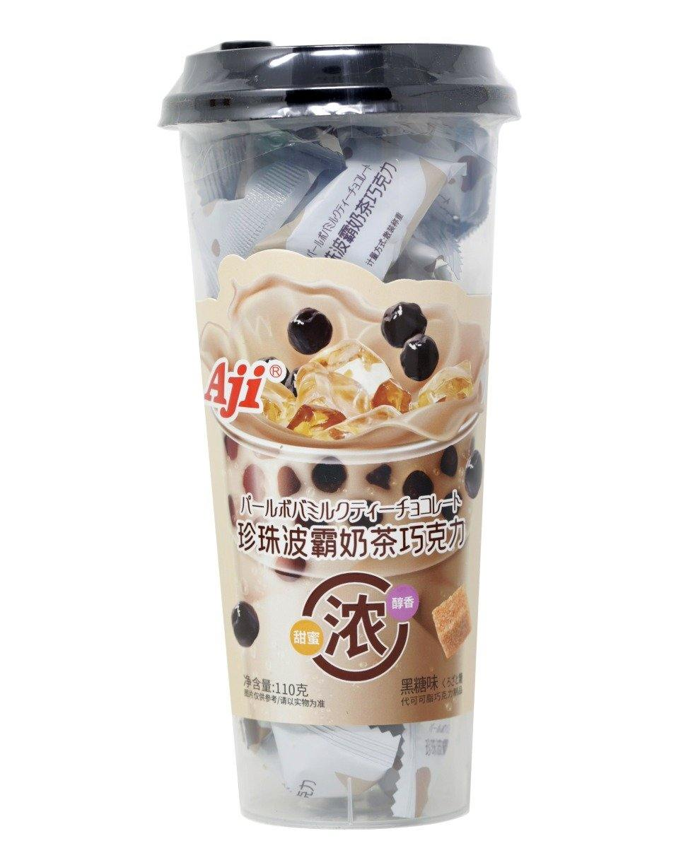 Aji Lovely Chocolate Soft Filled Candies with Pearl Milk Tea Flavor Chewing Pearl Pellets Flavor 110 g
