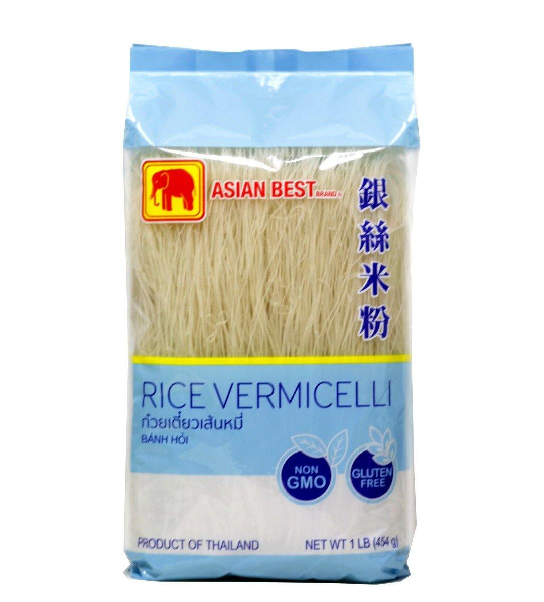 Asian Best Thai Dry Rice Vermicelli Noodles | Thin Rice Sticks | Banh Hoi 1LB (454 g) - 银丝米粉