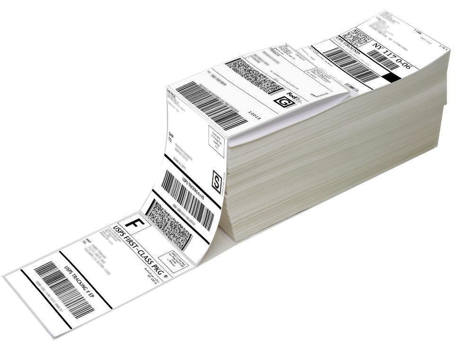 "4"" x 6"" Fanfold Direct Thermal Labels - White Shipping Mailing Postage Labels, Perforated, Permanent Adhesive (4 Stacks - 4000 Labels)"