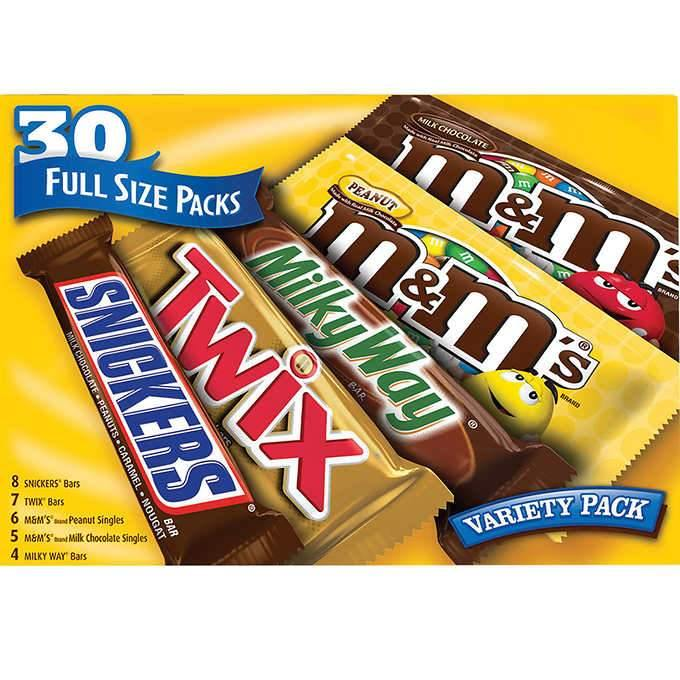 30 Bars (Full Size Packs) Variety Pack Snickers, Twix Bars, M&M'S Peanut Chocolate Candies, M&M's Milk Chocolate Candies, Milky Way Bars 53.66 Oz (1521.3 g)