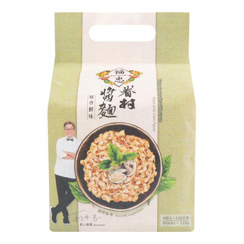 FuChung Village Dry Noodles Basil and Clam Flavor 4 Bags 15.52 Oz (440 g) - 福忠眷村酱面-塔香鲜味4份入