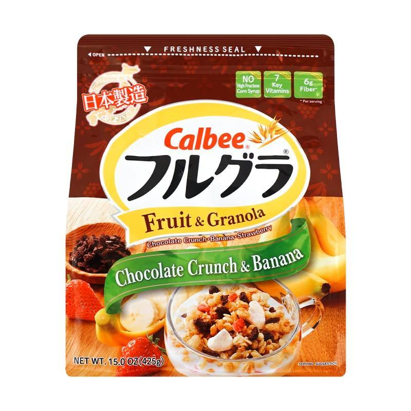 Calbee Fruit and Granola Chocolate Crunch and Banana Cereal | Healthy Cereal for Breakfast | Granola Topping 15 Oz (425 g)
