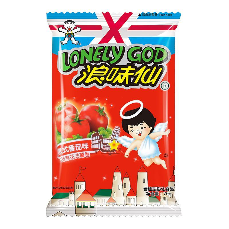 WANT-WANT Lonely God Potato Twists Chips Tomato Flavored (70 g) - 旺旺 浪味仙 创意花式薯卷 意式番茄味 70g