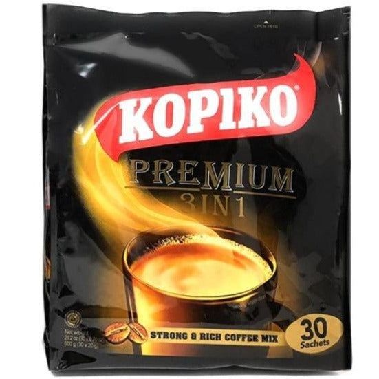 Kopiko Instant Premium 3 in 1 Coffee with Non Dairy Creamer and Sugar (30 Sachets X 0.7 Oz) 21 Oz (600 g)