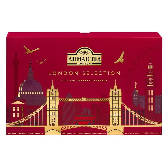 Ahmad Tea London Selection Earl Gray, Romance Jasmine, Pure Green Tea, Mystic Mint, Peach & Passion Fruit & Lemon & Lime Twist -  2.82 Oz (80 g)