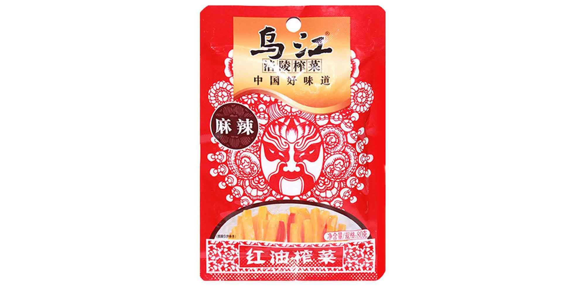 WUJIANG Hot Spicy Flavour Preserved Mustard Tuber 2.82 Oz (80 g) - 乌江麻辣红油榨菜