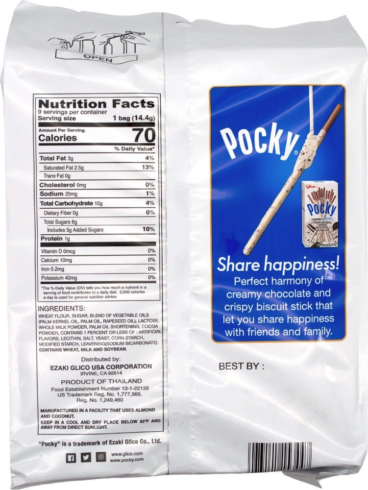 GLICO Pocky Cookies and Cream Covered Biscuit Sticks 4.57 Oz (129.6 g)