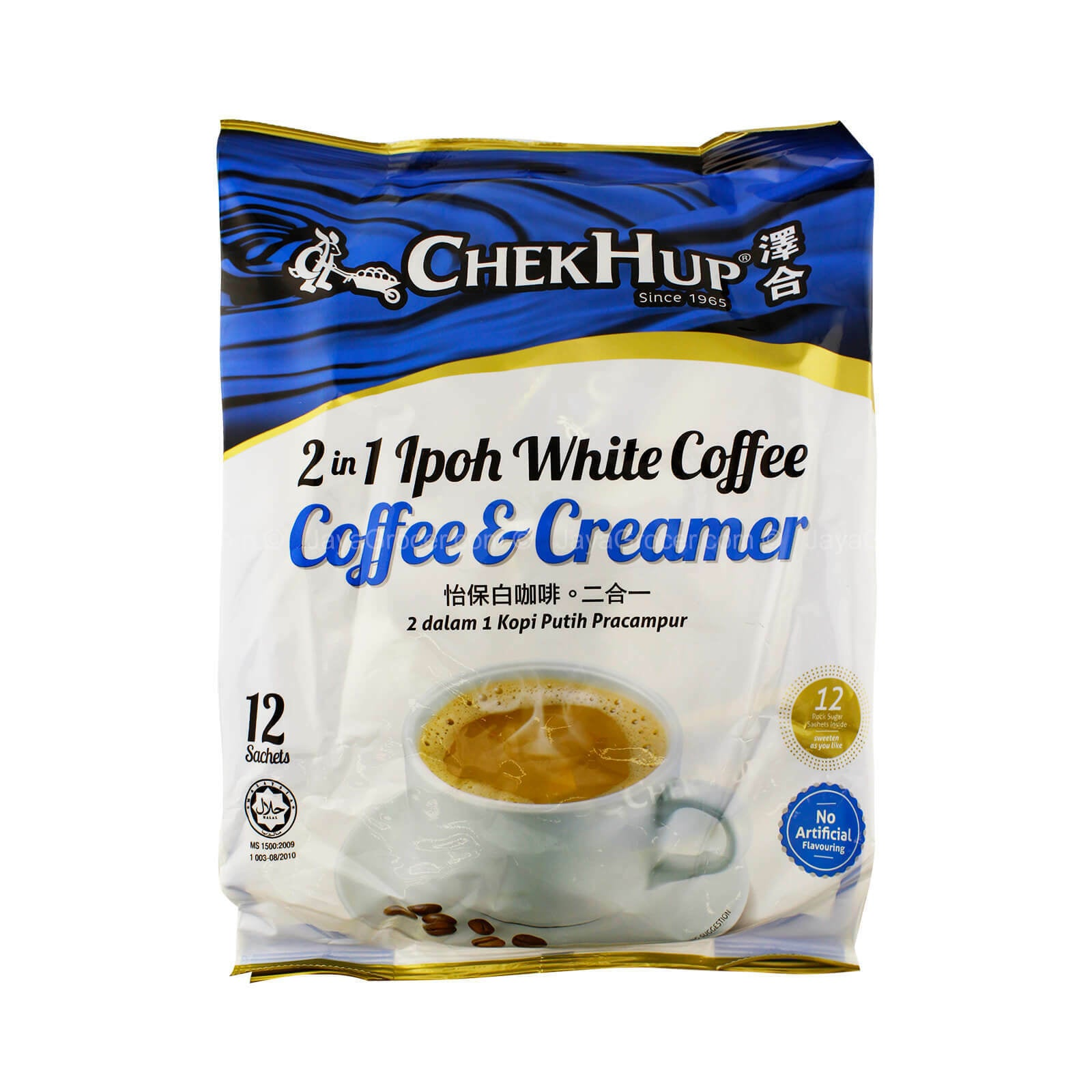 ChekHup 2 in 1 No Added Sugar Ipoh White Coffee and Creamer 12.7 Oz (360 mg) - 泽合2合一怡保白咖啡无糖