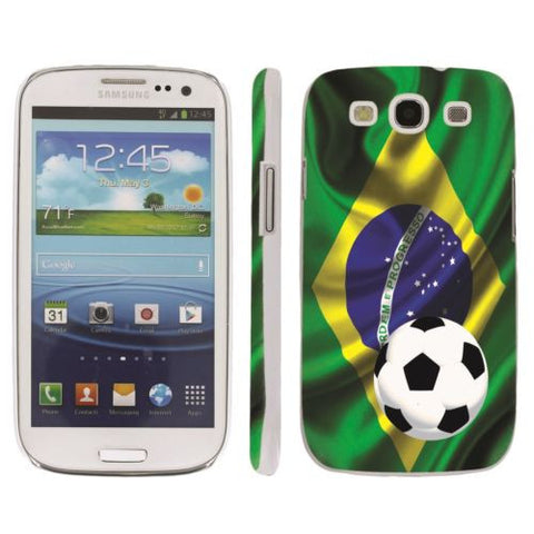 Samsung Galaxy S3 Snap On Art Design Case  - Brazil Flag with Soccer Ball