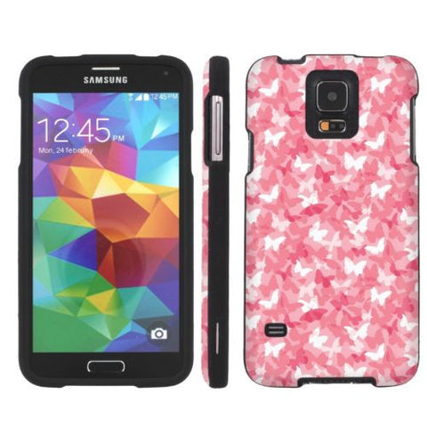 Samsung Galaxy S5 Slim Guard Armor Case  - Pink Camo Butterfly