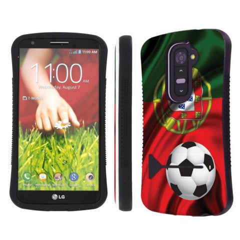 LG G2 Total Protection Designer Cover Case  - Portugal Flag with Soccer Ball