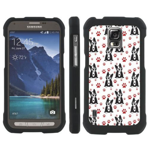 Samsung Galaxy [S5 ACTIVE] Slim Guard Armor  - Snub Dog Paw Print