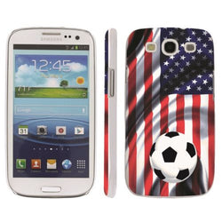 Samsung Galaxy S3 Snap On Art Design Case  - USA Flag with Soccer Ball