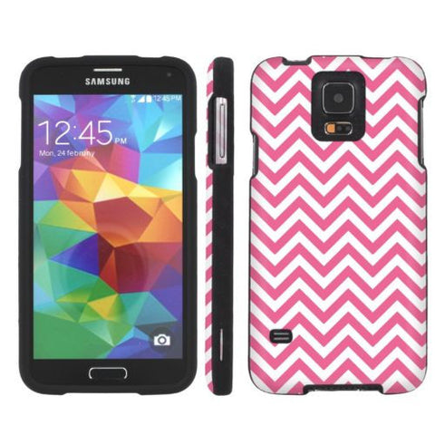 Samsung Galaxy S5 Slim Guard Armor Case  - Pink Chevron