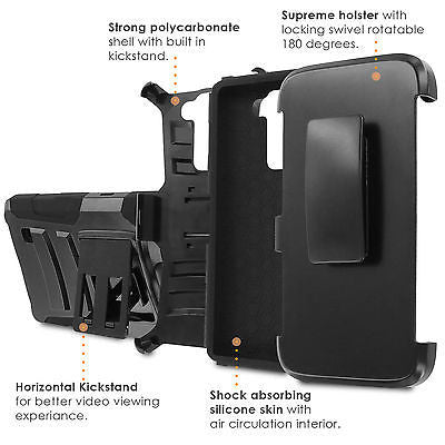 LG Stylo [2 PLUS] Dual Armor Case [Holster] [Screen Protector] - Pattern