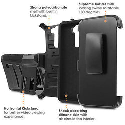 LG Stylo [2 PLUS] Dual Armor Case [Holster] [Screen Protector] - Art