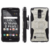 LG Stylo [2 PLUS] Dual Armor Case [Holster] [Screen Protector] - Logo