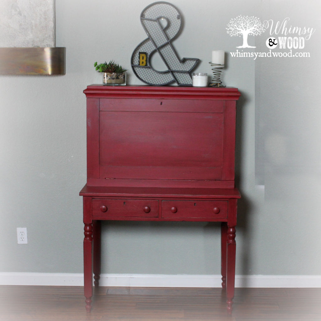 When in Doubt, Go With Red!-Desk Makeover