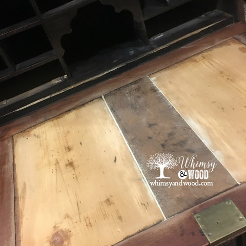 Painted Faux Leather Desk Pad on Antique Desk by Whimsy and Wood.