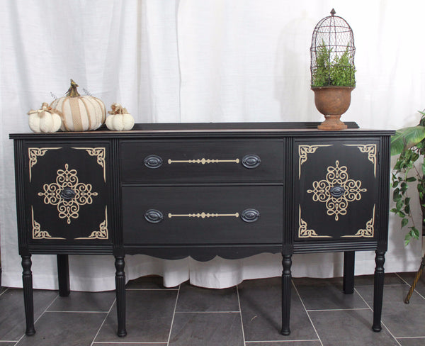 **SOLD**1920's Buffet with Stenciled details