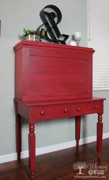 RED Antique Breakfront Desk