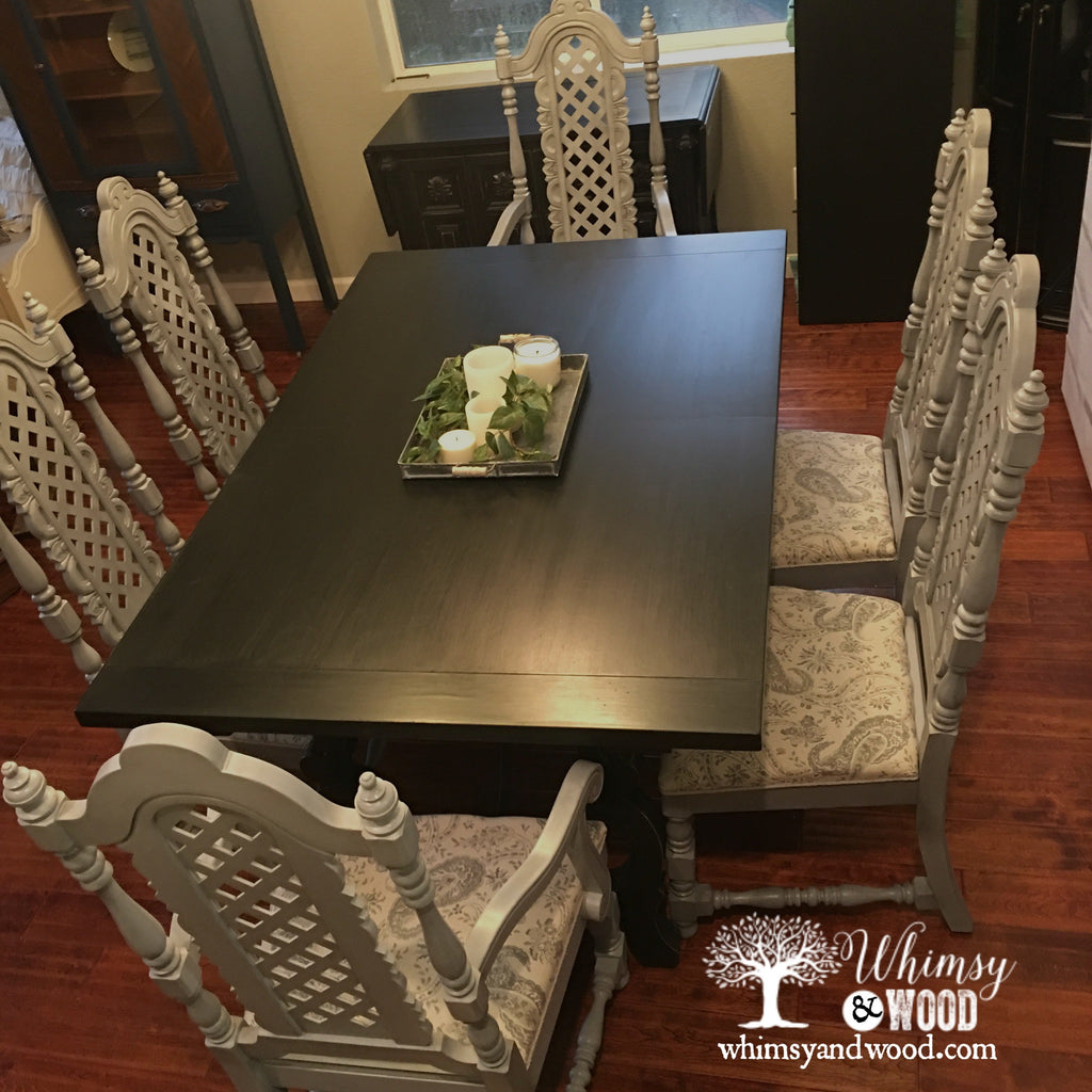 Hollywood Regency Dining Set, High back Chairs, and Unique Base