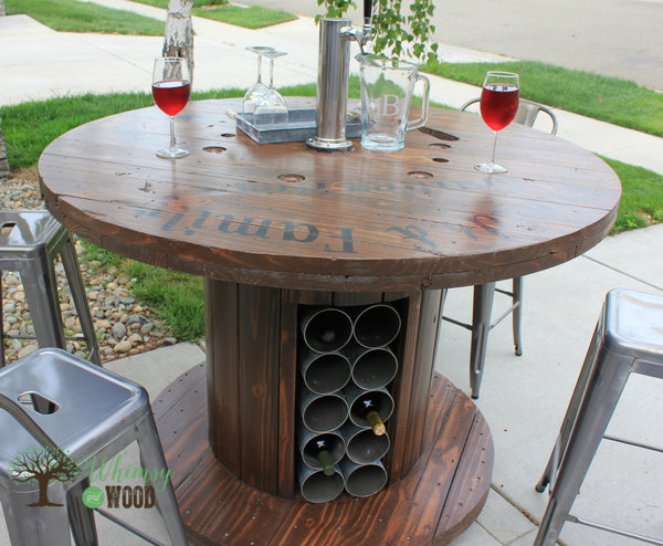 Cable Reel Up Cycled Pub Height Table With Draft Tower