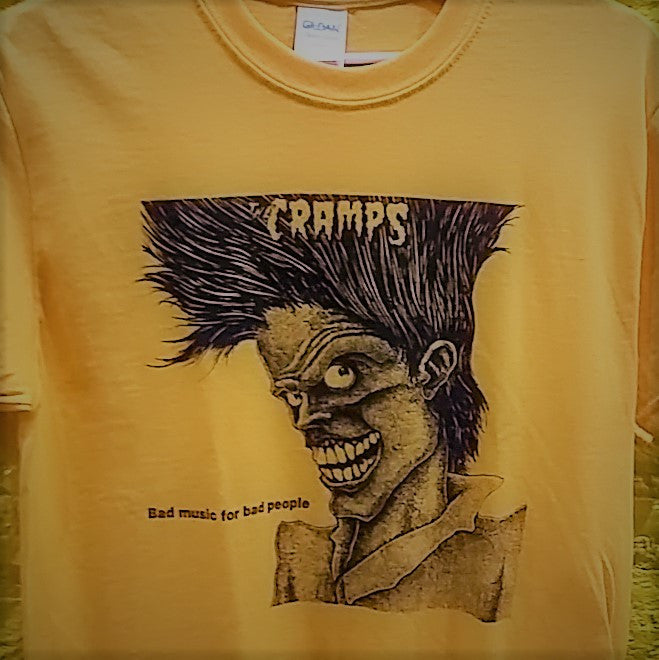 "CRAMPS - ""Bad music for bad people"" logo T-SHIRT *** ALL SIZES AVAILABLE ***"