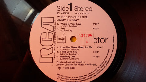 Jimmy Lindsay - Where Is Your Love (LP, Album, Promo) - USED