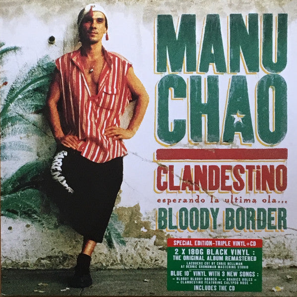 "Manu Chao - Clandestino (Esperando La Ultima Ola...) / Bloody Border (2xLP, Album, RE, RM, S/Edition + 10"", Single, Blu ) - NEW"