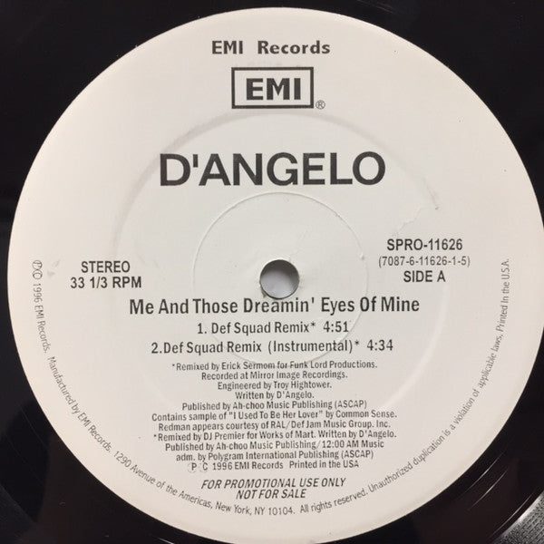 "D'Angelo - Me And Those Dreamin' Eyes Of Mine (12"", Single, Promo) - USED"
