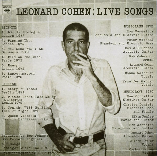 Leonard Cohen - Live Songs (LP, Album, RE, RM, 180) - NEW