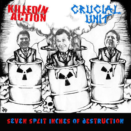 "Killed In Action / Crucial Unit - Seven Split Inches Of Destruction (7"", EP, Blu) - USED"