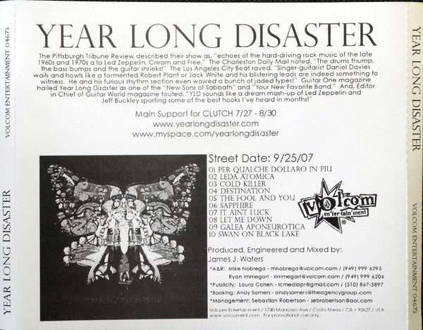 Year Long Disaster - Year Long Disaster (CD, Album, Promo) - USED