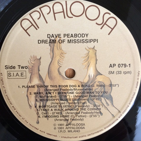 Dave Peabody - Dream Of Mississippi (LP, Album) - USED