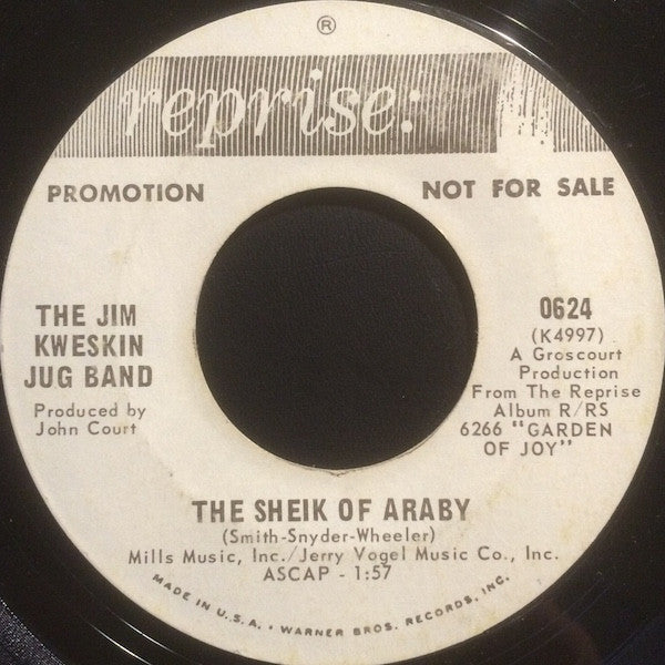 "Jim Kweskin & The Jug Band - The Sheik Of Araby / Minglewood (7"", Promo) - USED"