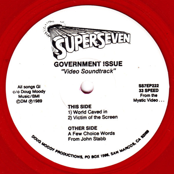 "Government Issue - Video Soundtrack (7"", EP, Ltd, RE, Red) - USED"