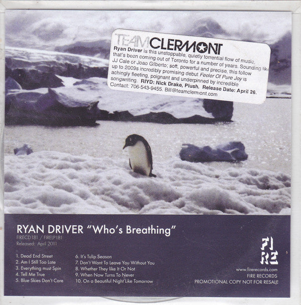 Ryan Driver - Who's Breathing (CD, Album, Promo) - USED