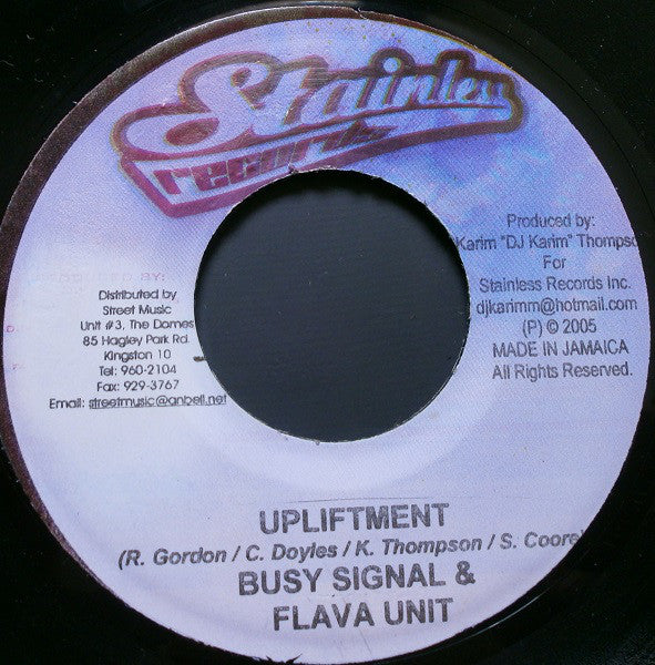 "Busy Signal & Flava Unit / L.M.S - Upliftment / I Adore You (7"") - USED"