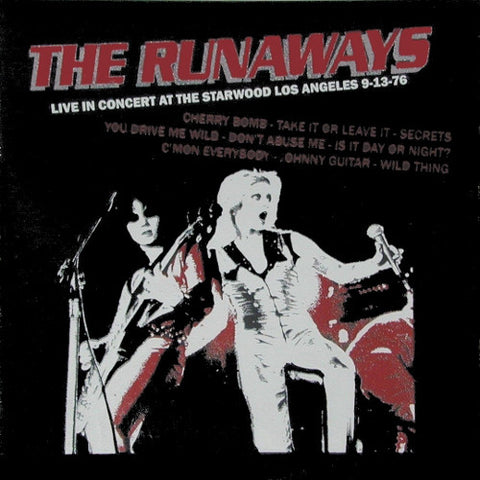 The Runaways - Live in Concert at the Starwood Los Angeles 9-13-76 (LP, Album, Unofficial, Red) - NEW