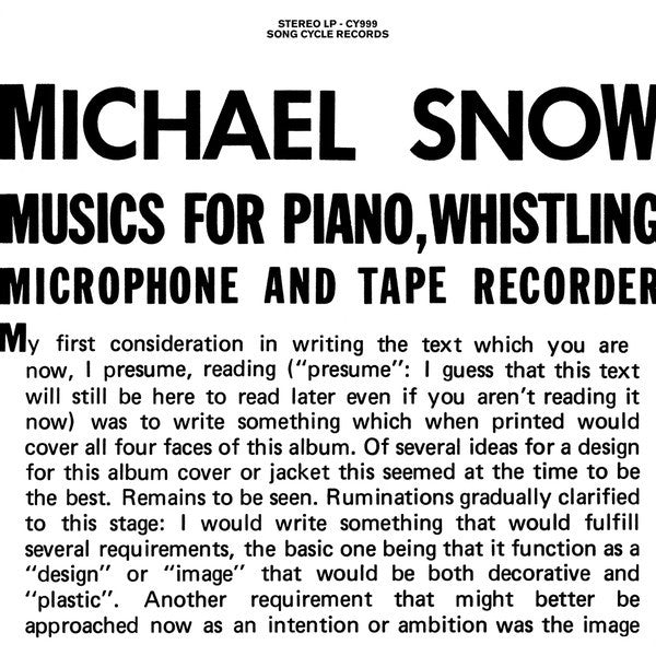 Michael Snow - Musics For Piano, Whistling, Microphone And Tape Recorder (2xLP, Gat) - NEW