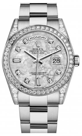 Rolex - Day-Date President White Gold - Diamond Bezel - President - Watch Brands Direct