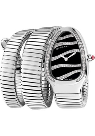 Bulgari - Serpenti Tubogas 35mm - Stainless Steel and Diamonds - Two Twirl Bracelet - Watch Brands Direct
